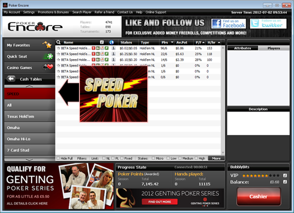 Speed Poker Lobby on Poker Encore